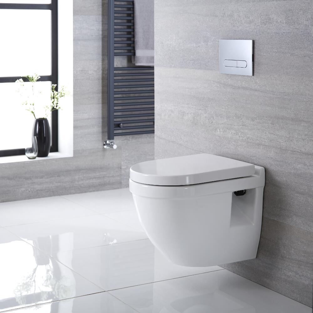 Inodoro Oval Suspendido 400x360x515mm Completo con Estructura Empotrable con Cisterna,Tapa Soft Close y Placa de Descarga - Belstone