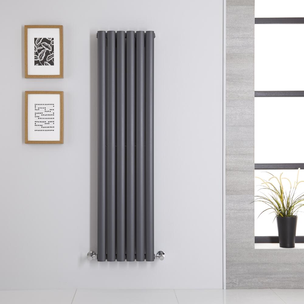 Radiador de Diseño Vertical Doble - Antracita - 1400mm x 354mm x 78mm - 1044 Vatios - Revive