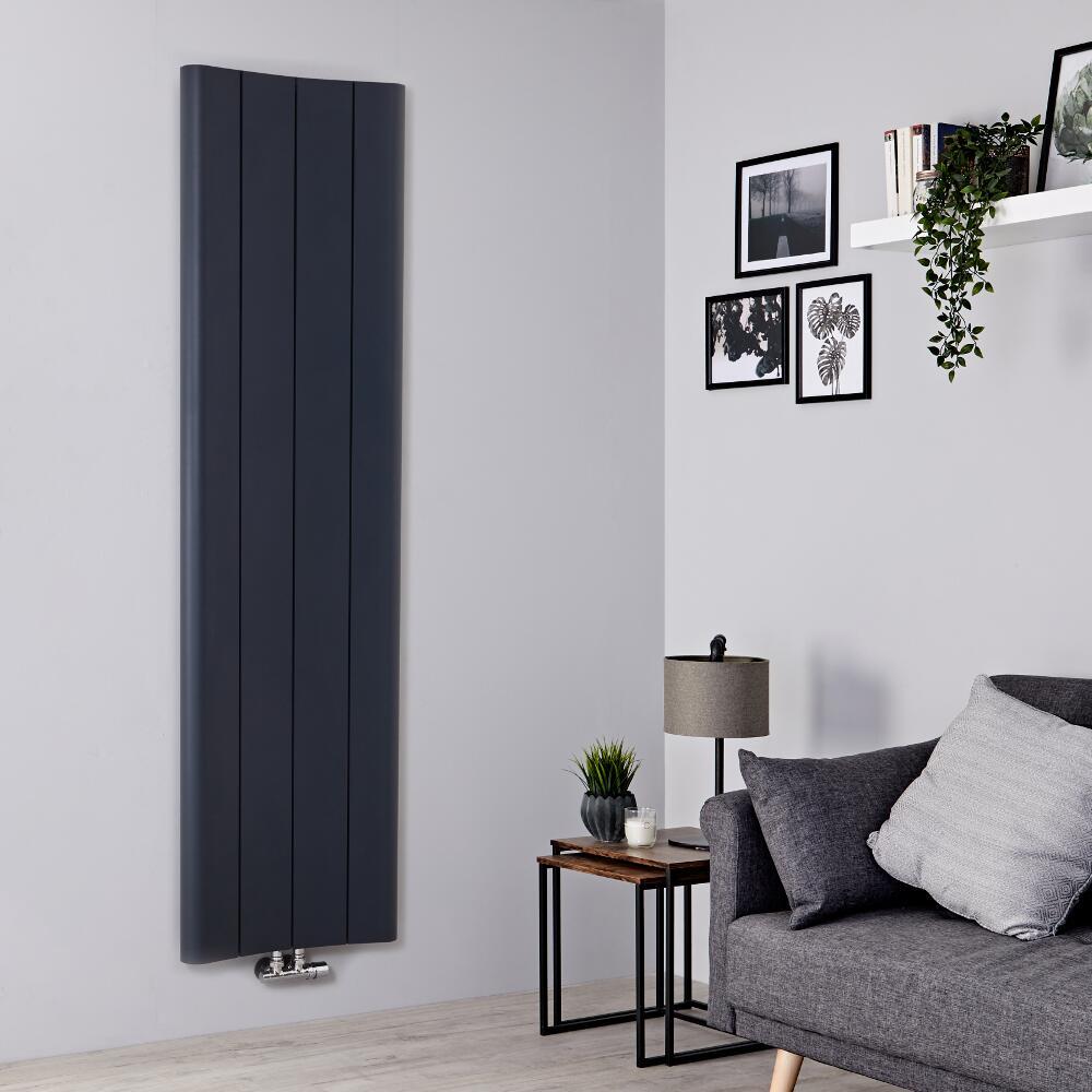 Radiador de Diseño Vertical - Aluminio - Antracita - 1800mm x 495mm - 1201 Vatios - Aloa