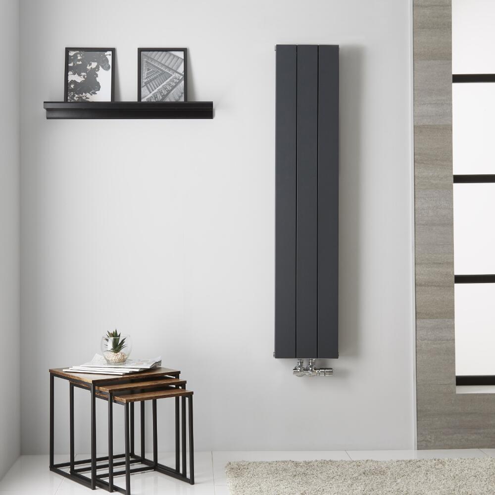 Radiador de Diseño Vertical Doble con conexión Central - Aluminio - Antracita - 1400mm x 280mm x 67mm - 907 Vatios  - Kett