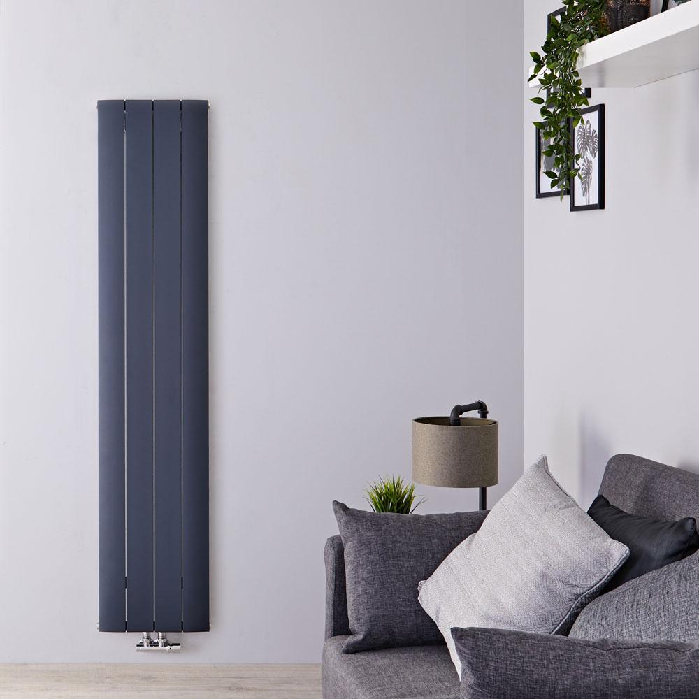 Radiador de Diseño Vertical Con Conexión Central - Aluminio - Antracita - 1600mm x 375mm x 46mm - 1361 Vatios - Aurora