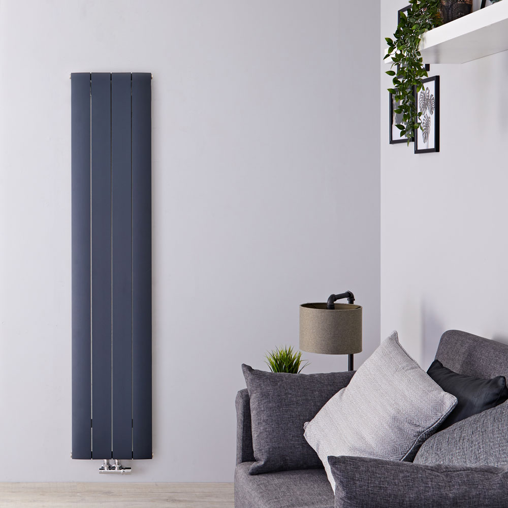 Radiador de Diseño Vertical Con Conexión Central - Aluminio - Antracita - 1800mm x 375mm x 46mm - 1535 Vatios - Aurora