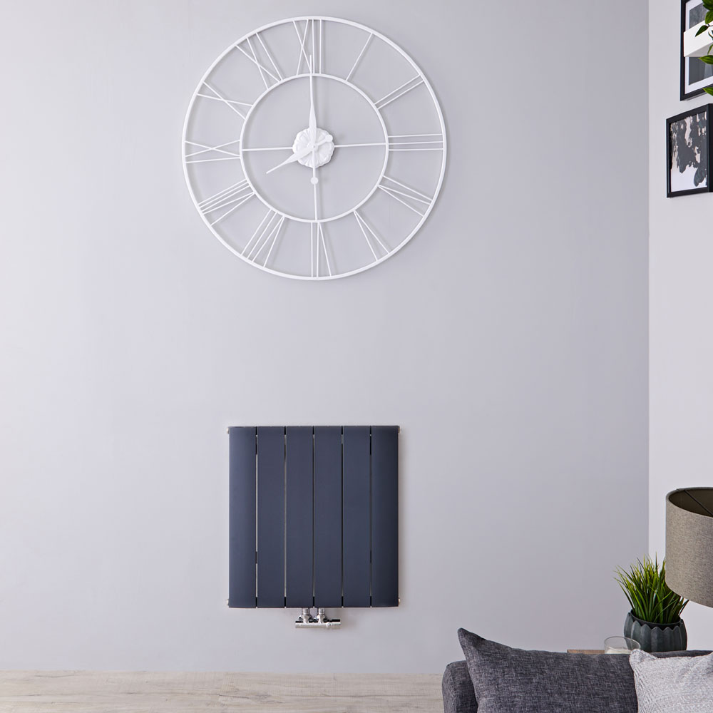 Radiador de Diseño Horizontal Con Conexión Central - Aluminio - Antracita - 600mm x 565mm x 46mm - 768 Vatios - Aurora