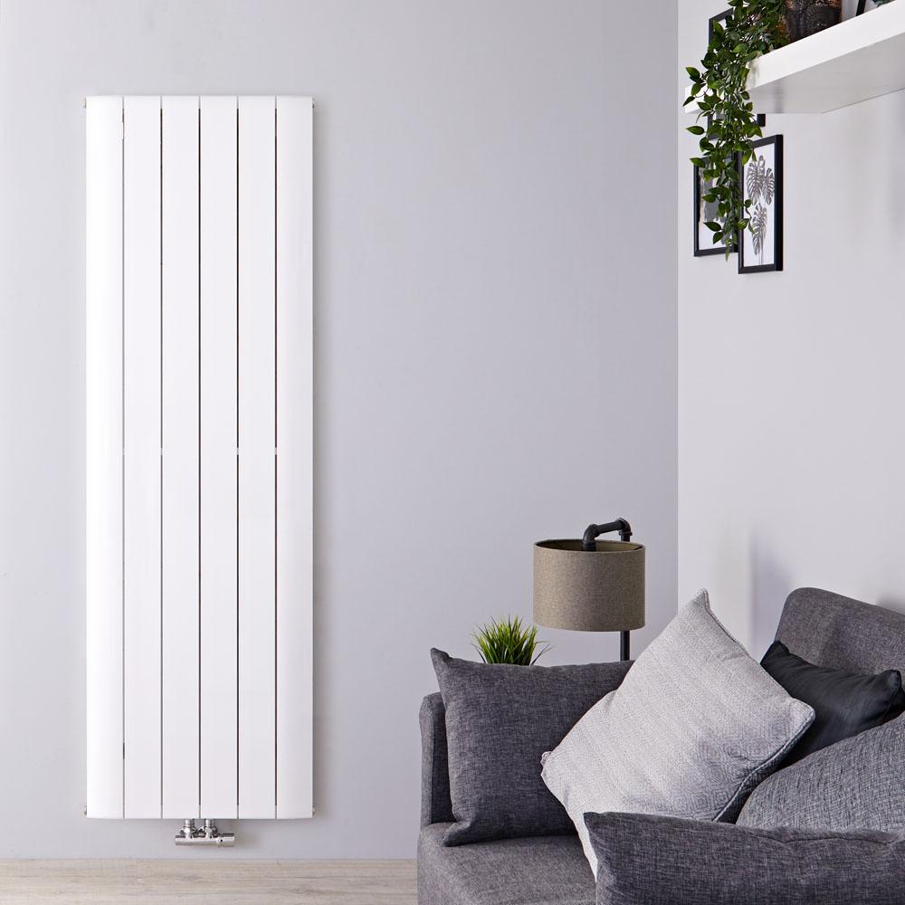 Radiador de Diseño Vertical Con Conexión Central - Aluminio - Blanco - 1600mm x 565mm x 45mm - 2042 Vatios - Aurora