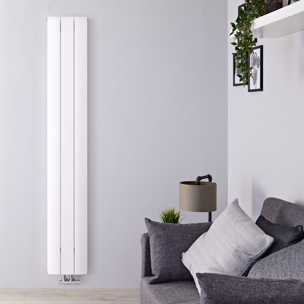 Radiador de Diseño Vertical Con Conexión Central - Aluminio - Blanco - 1800mm x 280mm x 46mm - 1152 Vatios - Aurora