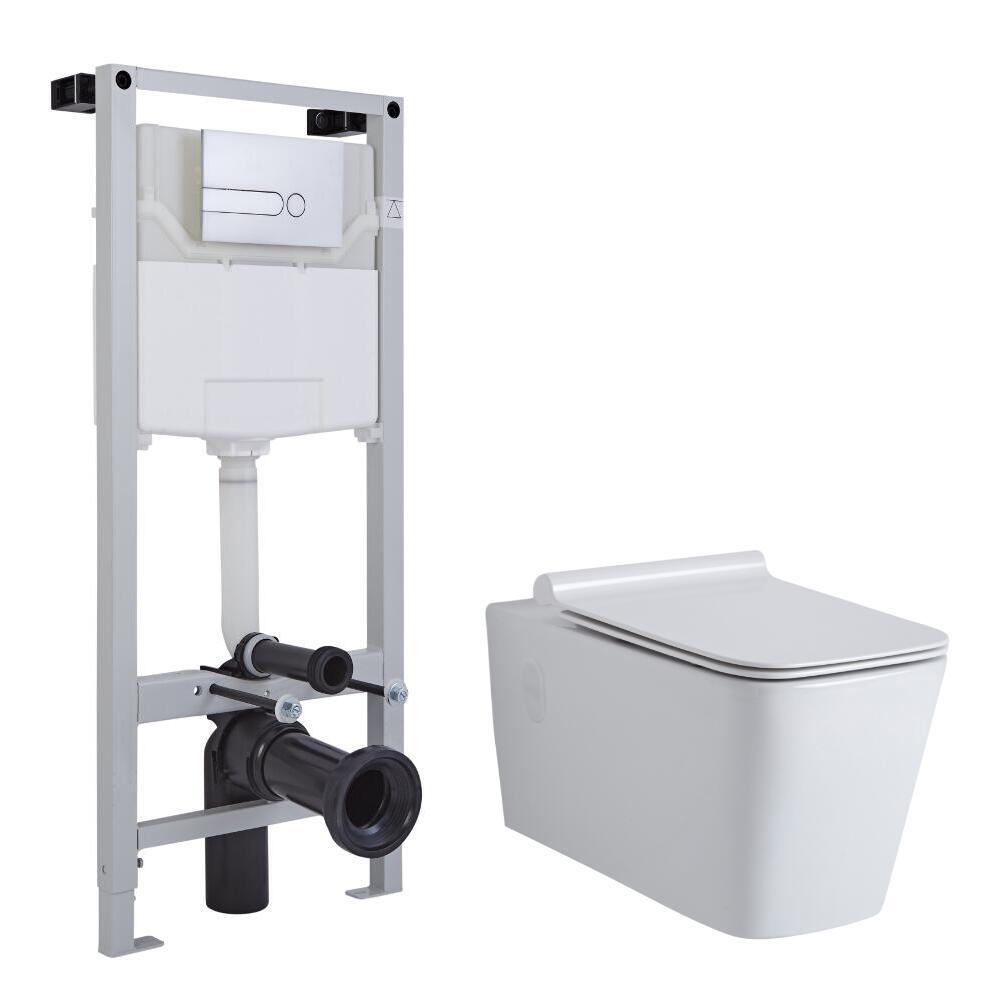 Inodoro Cuadrado Moderno Suspendido Completo Placa de Descarga, Cisterna, Estructura Empotrable y Tapa - Sandford