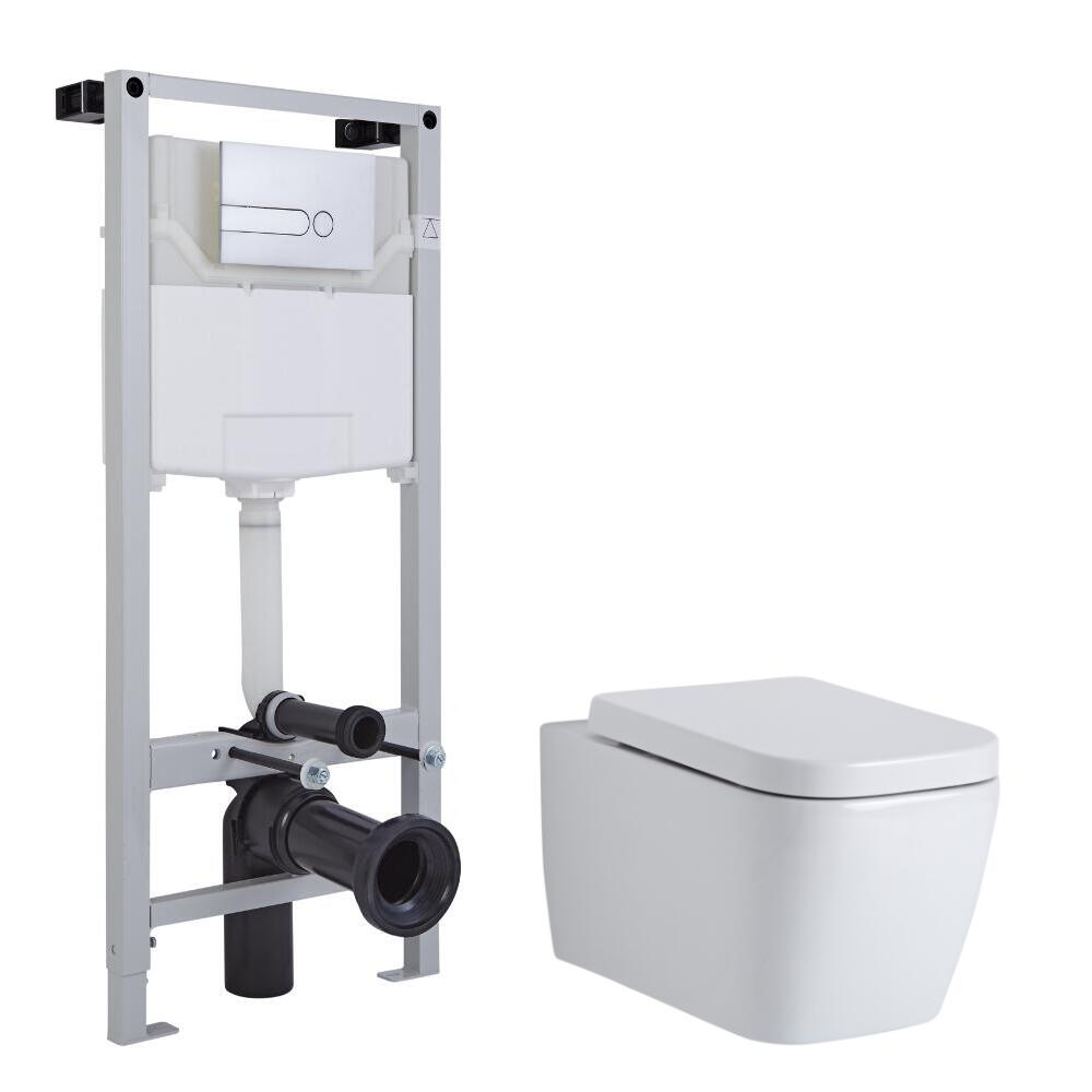 Inodoro Cuadrado Moderno Suspendido Completo con Tapa Soft Close, Estructura Empotrable, Cisterna y Placa de Descarga de 1150x500x180mm – Milton