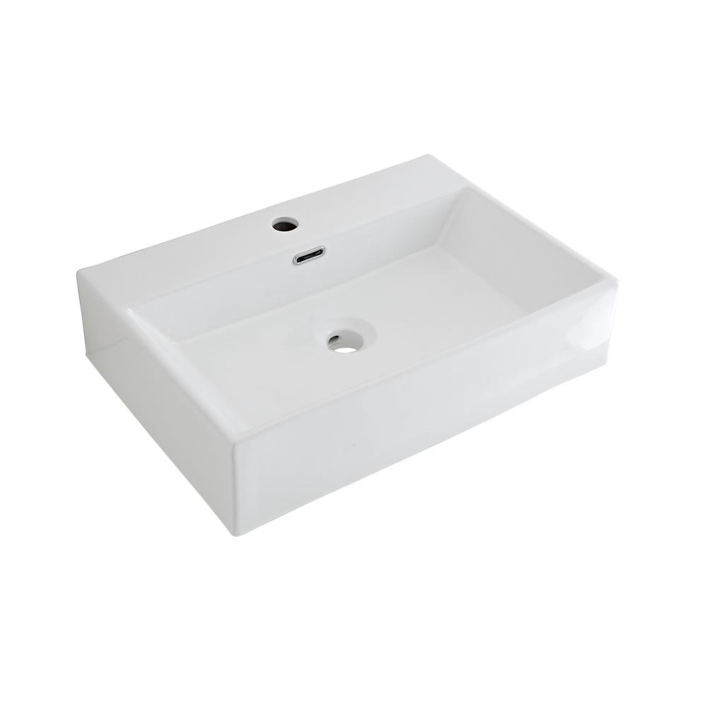 Lavabo Sobre Encimera Rectangular de Cerámica 600x420mm con Mini Mezclador de Lavabo - Sandford