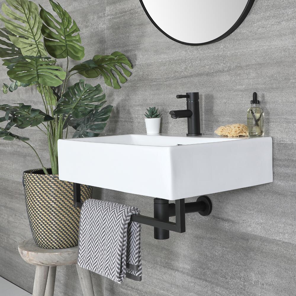 Lavabo Suspendido Moderno Rectangular Blanco 600mm x 420mm con Barra Porta Toallas Negra- Sandford