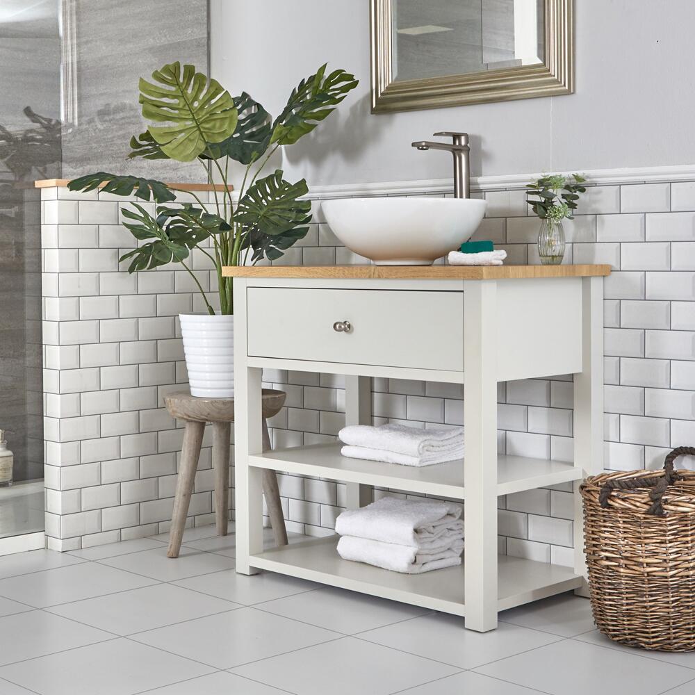 Mueble de Lavabo Compacto Tradicional de 840mm Color Blanco Antiguo con Sobre Encimera y Lavabo Sobre Encimera Redondo – Stratford
