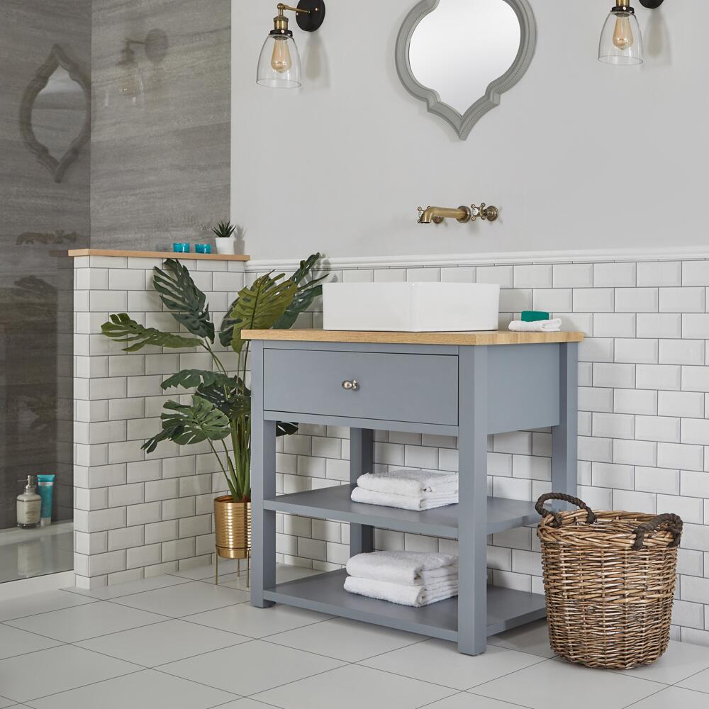 Mueble de Lavabo Compacto Tradicional de 840mm Color Gris Claro con Encimera y Lavabo Sobre Encimera Cuadrado de 360x360mm – Stratford