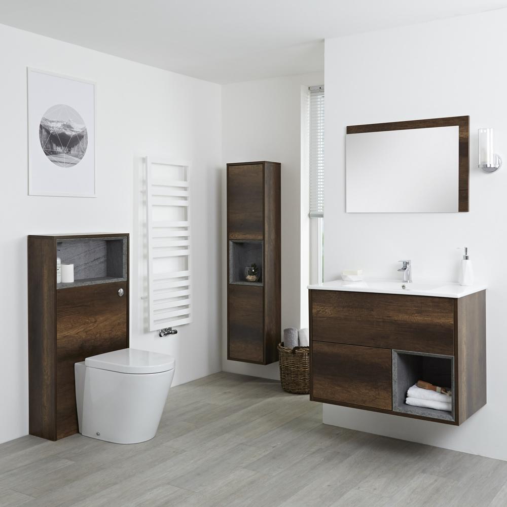 Conjunto de Baño con Diseño Abierto de Color Roble Oscuro Completo con Mueble Para Lavabo de 800mm, Mueble de Pared de 1500mm, Mueble de WC, Espejo, Lavabo, WC y Cisterna - Hoxton
