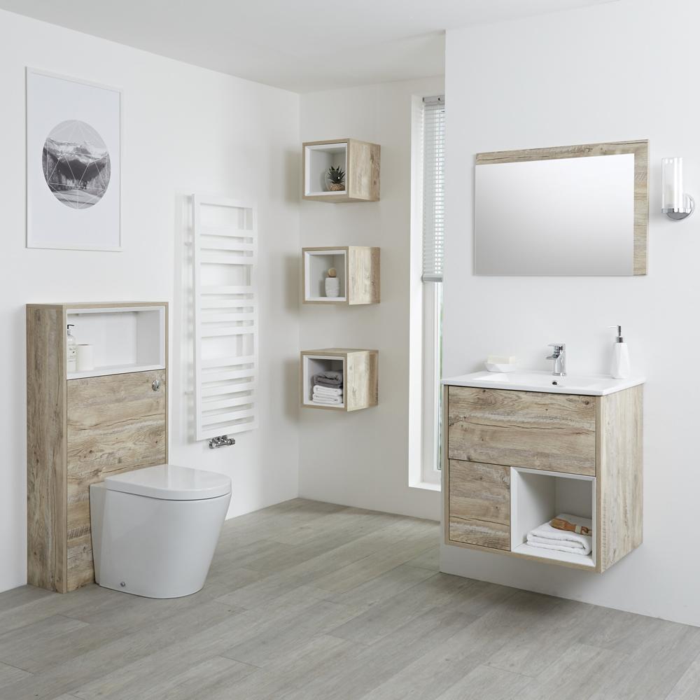 Conjunto de Baño con Diseño Abierto de Color Roble Claro Completo con Mueble Para Lavabo de 600mm, Mueble de Pared, Espejo, Lavabo, WC y Cisterna - Hoxton