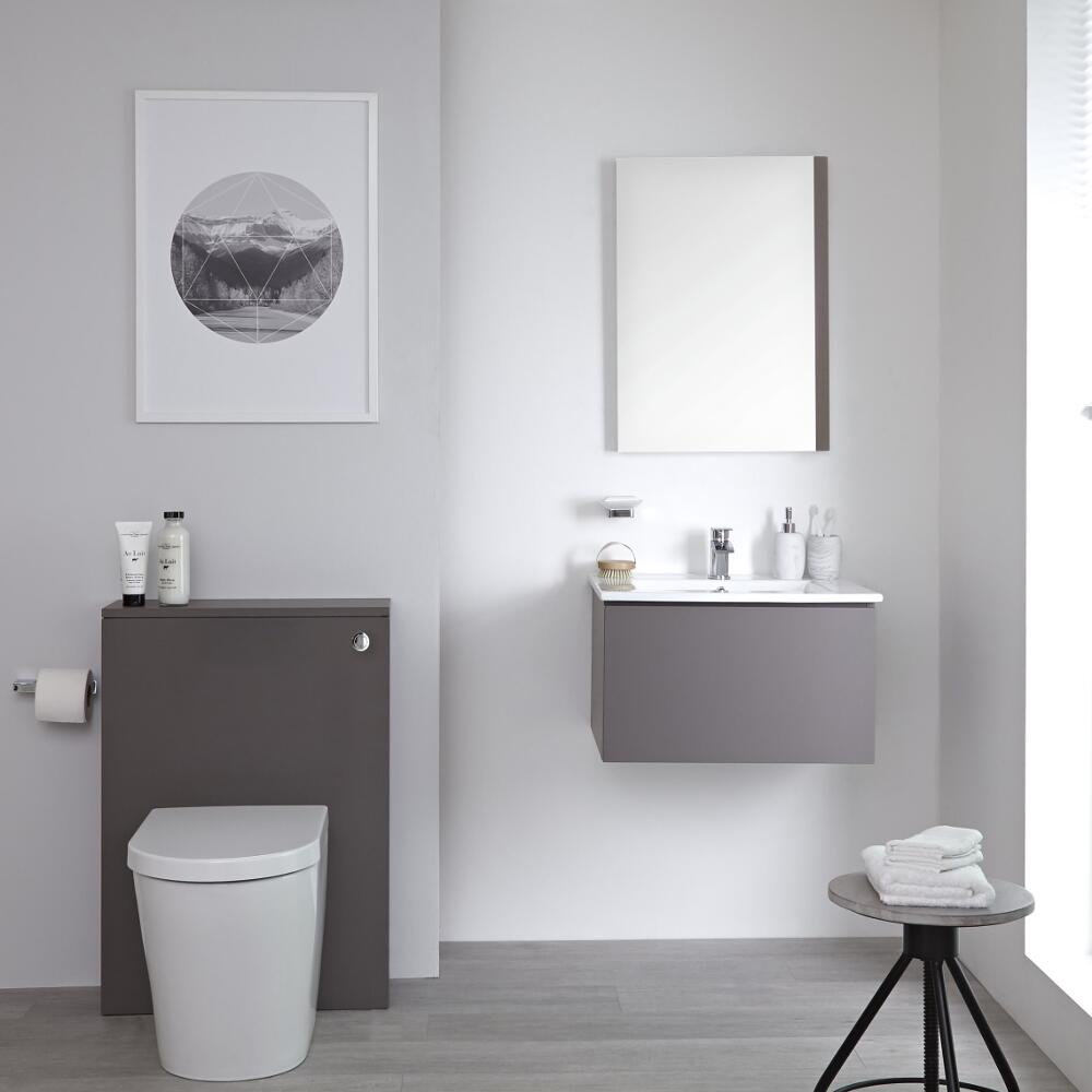 Mueble de Baño de 600mm Color Gris Opaco con Inodoro y Placa de Accionamiento - Newington