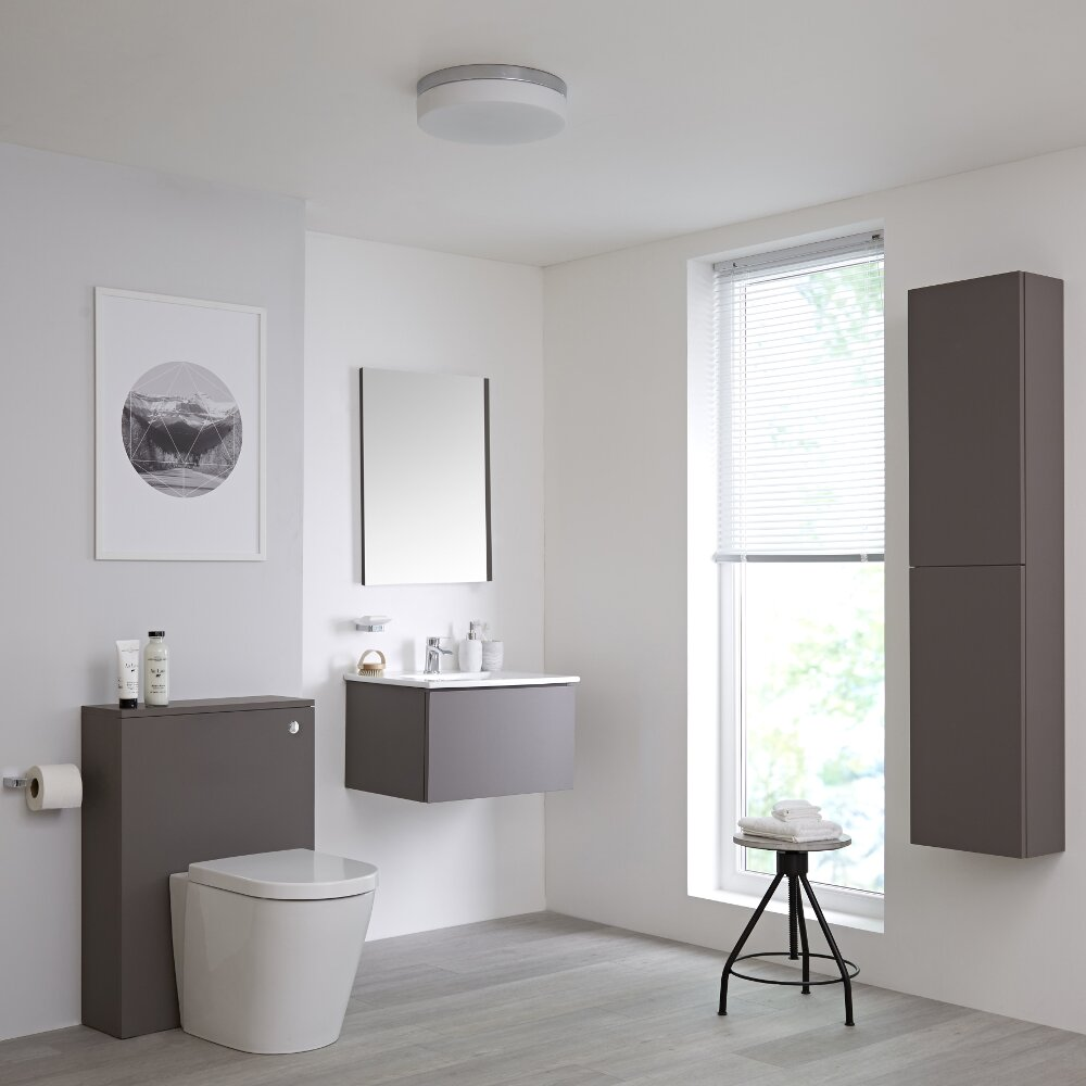 Conjunto con Mueble de Baño de 600mm Color Gris Opaco, Cisterna, Inodoro, Lavabo, Armario de Pared y Espejo Disponible con Opción LED - Newington
