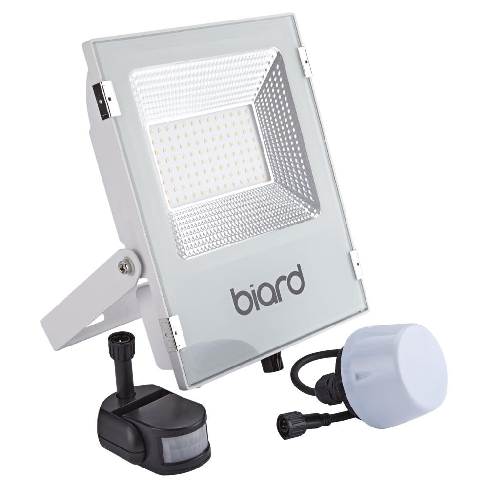 Biard Foco Proyector Plano Blanco 50W con Opción entre Sensor PIR o Sensor Crepuscular