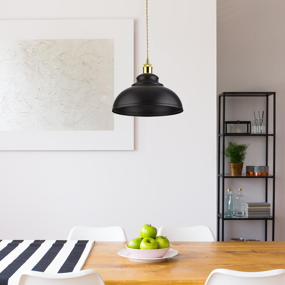 Biard Lámpara de Techo de Suspensión Retro de Latón con Acabado de Color Negro - Dalston