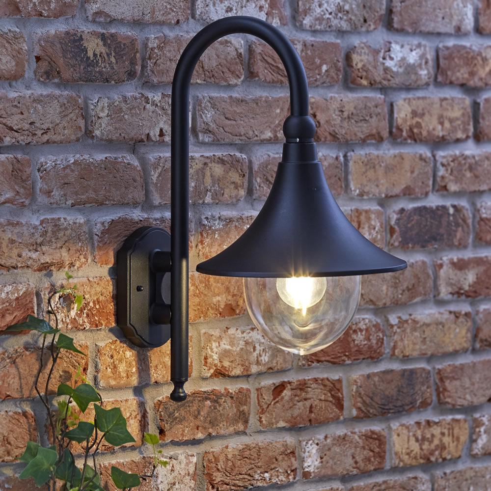 Biard farol apliqu exterior descendiente color negro y for Luminarias para jardines exteriores