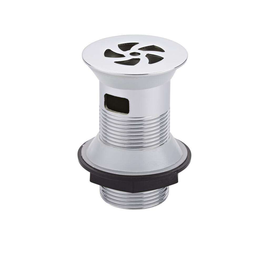 Válvula de Desagüe de Acero Cromado y Blanco Para Lavabos con Rebosadero