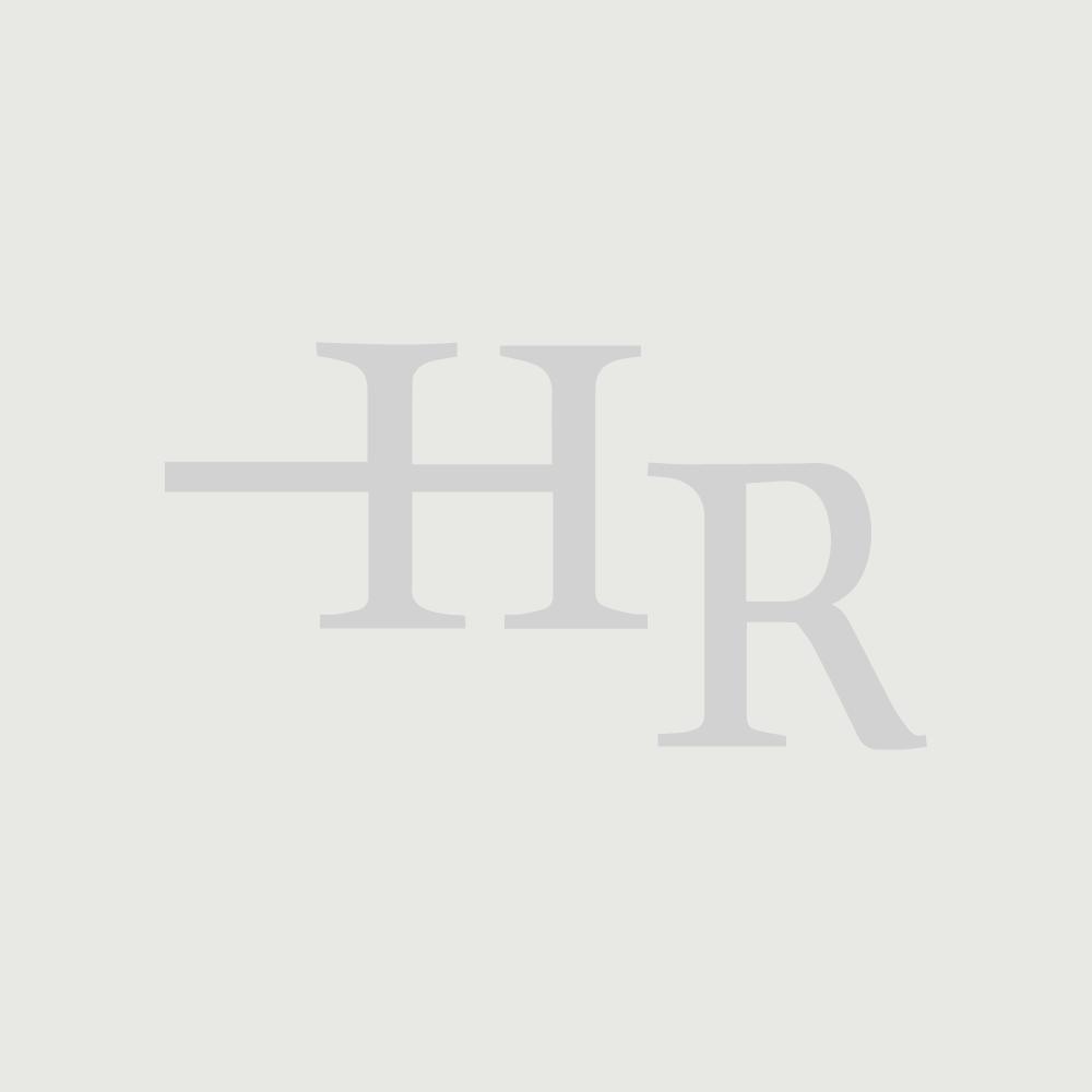 Inodoro WC Tradicional de Cerámica Blanca con Cisterna de Salida Horizontal y Tapa de Color Madera Estilo Retro - Richmond
