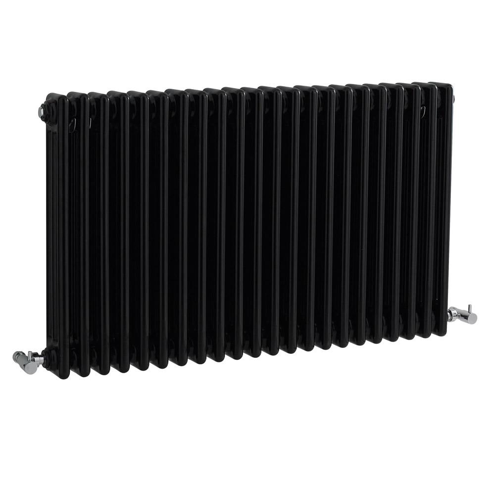 Radiador de Diseño Horizontal Triple Tradicional - Negro - 600mm x 1010m x 100mm - 2217 Vatios - Regent