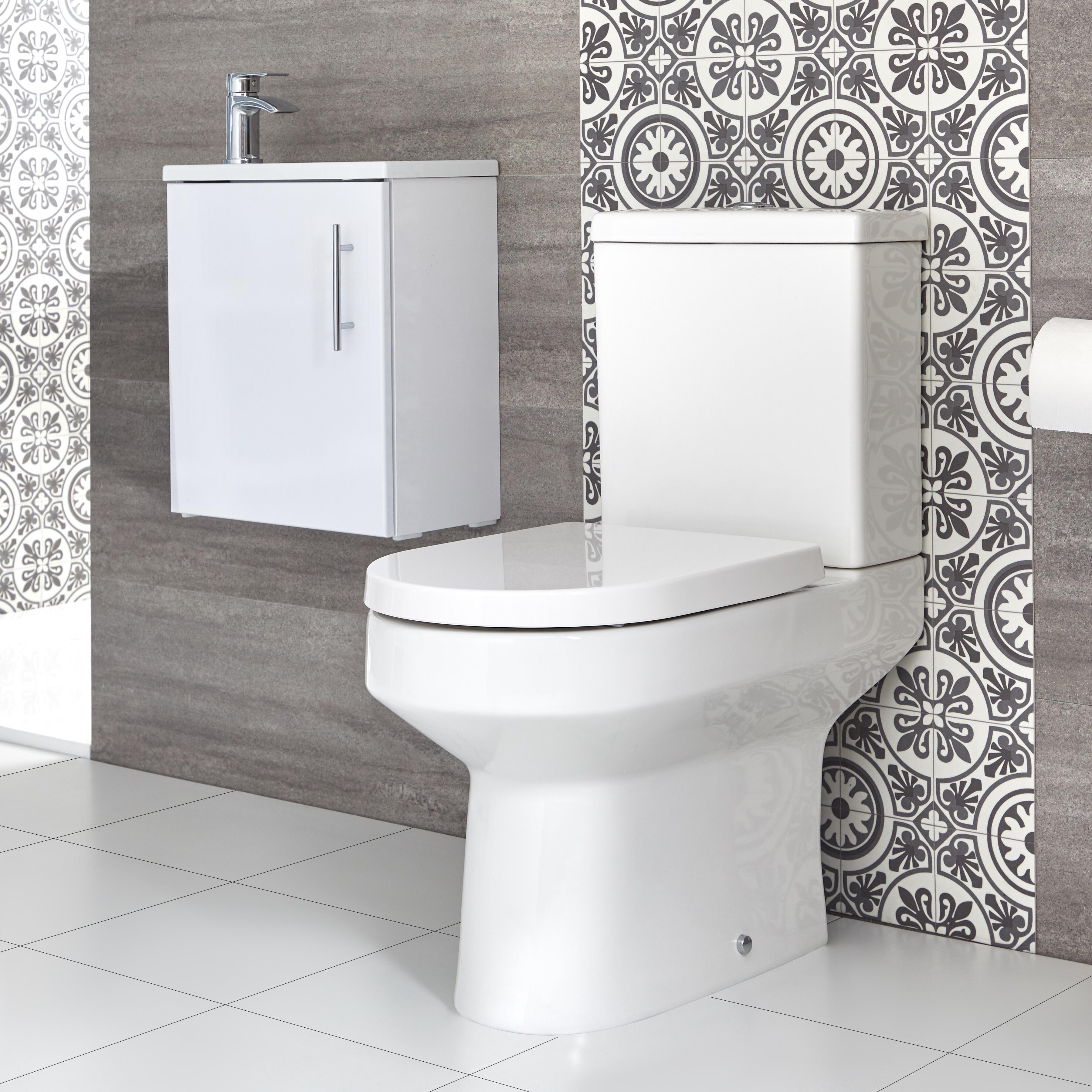Conjunto de Baño Covelly Completo con Mueble de Lavabo Suspendido de 400mm con Lavabo Compacto e Inodoro Monobloque - Selección de Acabados