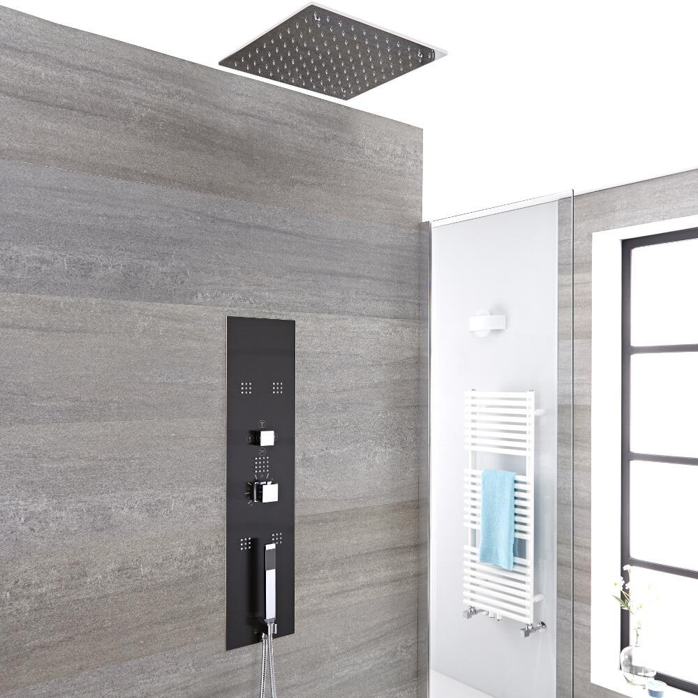 Panel de ducha empotrable hidromasaje minimalista negro for Ducha de techo
