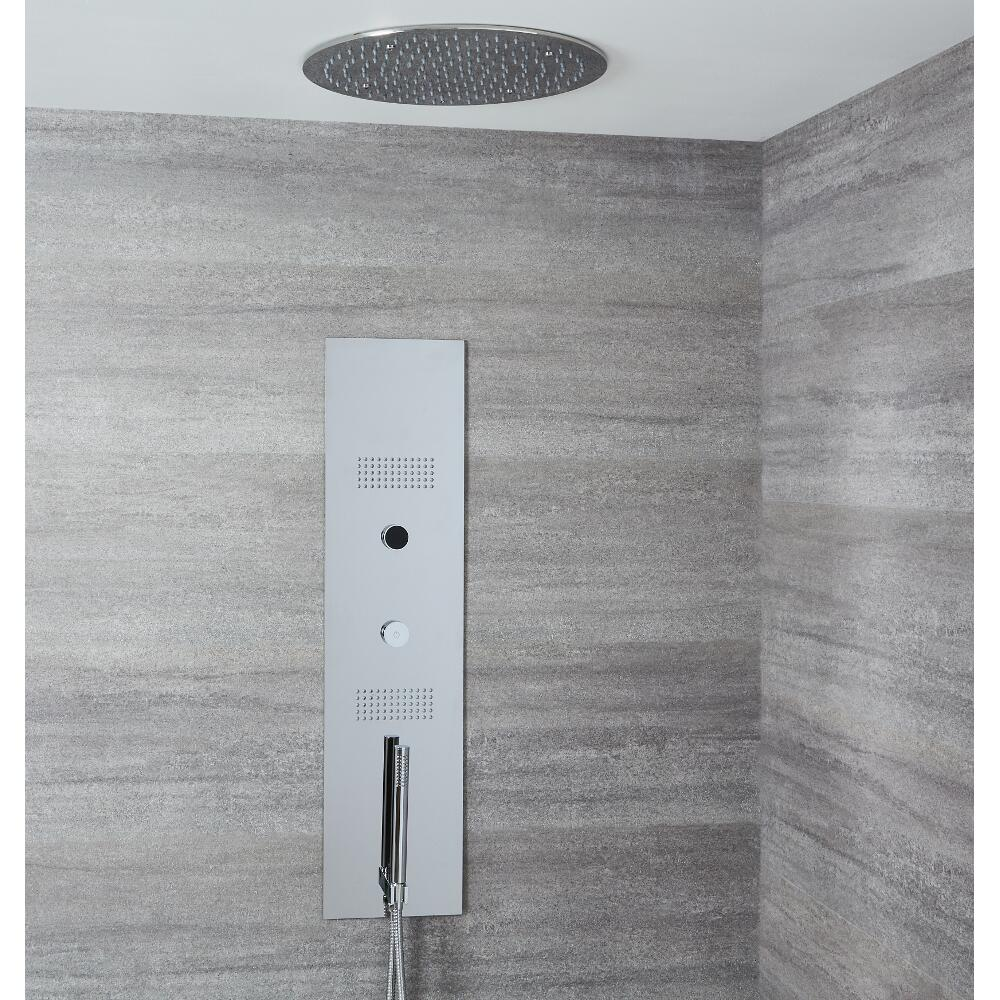 Panel de Ducha Digital Empotrable con Alcachofa de Ducha de Techo Empotrable Redonda de 400mm - Narus