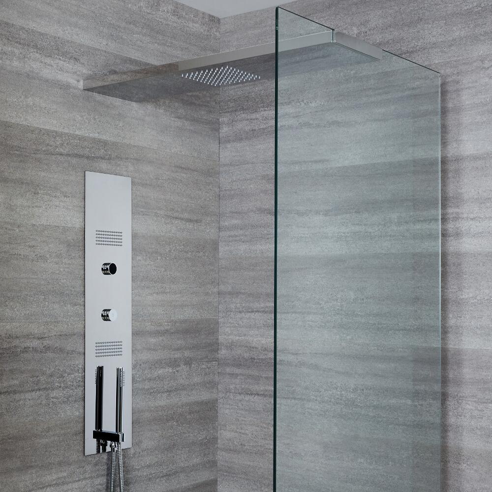 Panel de Ducha Digital Empotrable con Alcachofa de Ducha de 1000mm con Soporte de Mampara de Ducha -Narus