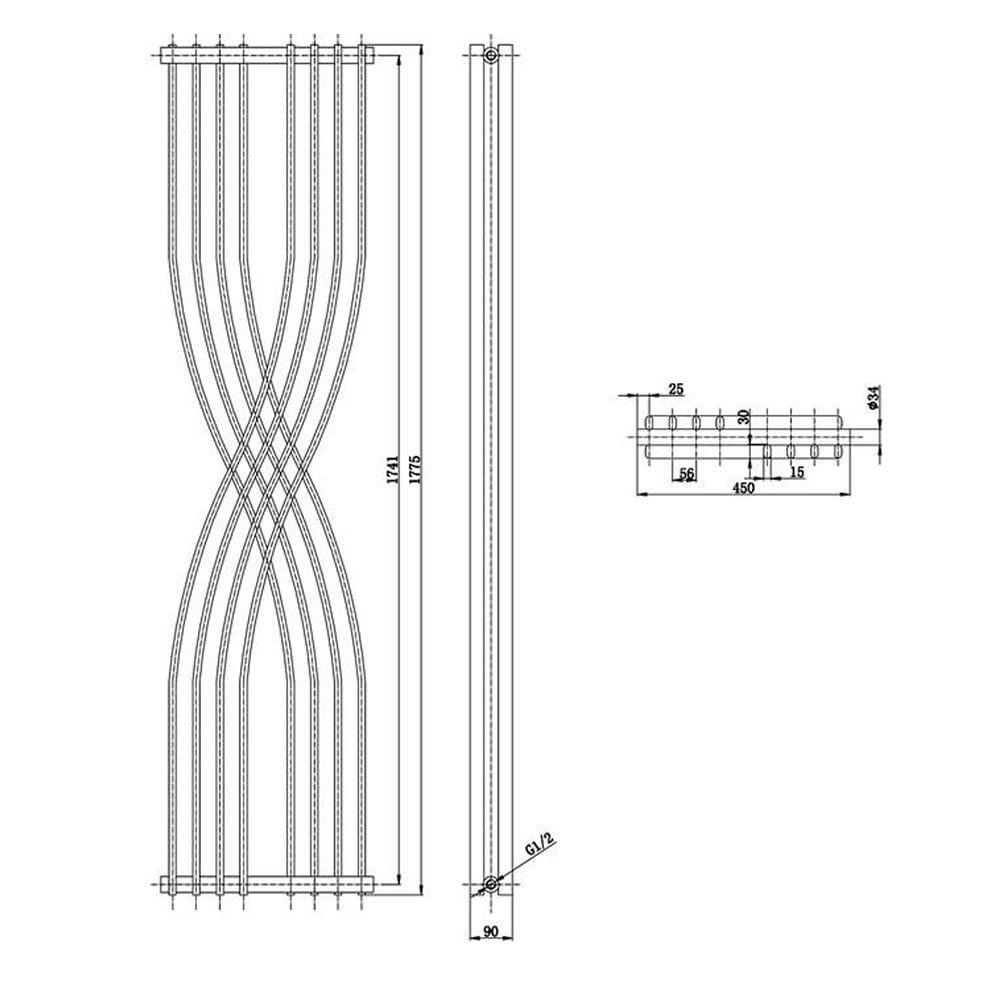 Antracita 1775mm x 450mm x 110mm Xcite Radiador de Dise/ño Vertical 925 Vatios