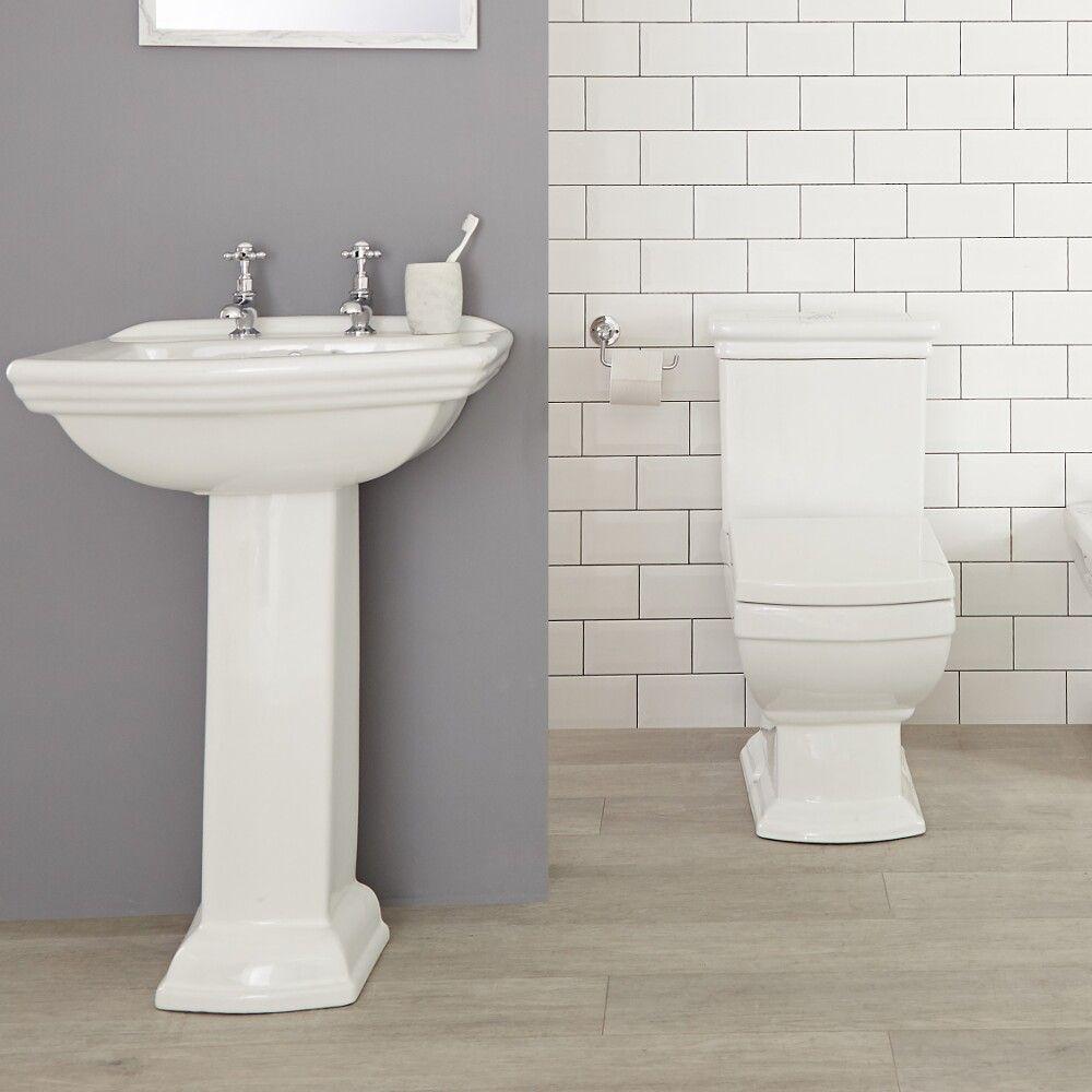 Conjunto Tradicional Cuadrado Blanco para Cuarto de Baño Completo con  Lavabo para Grifería de 2 Agujeros, Pedestal, Inodoro y Cisterna de  Cerámica - ...