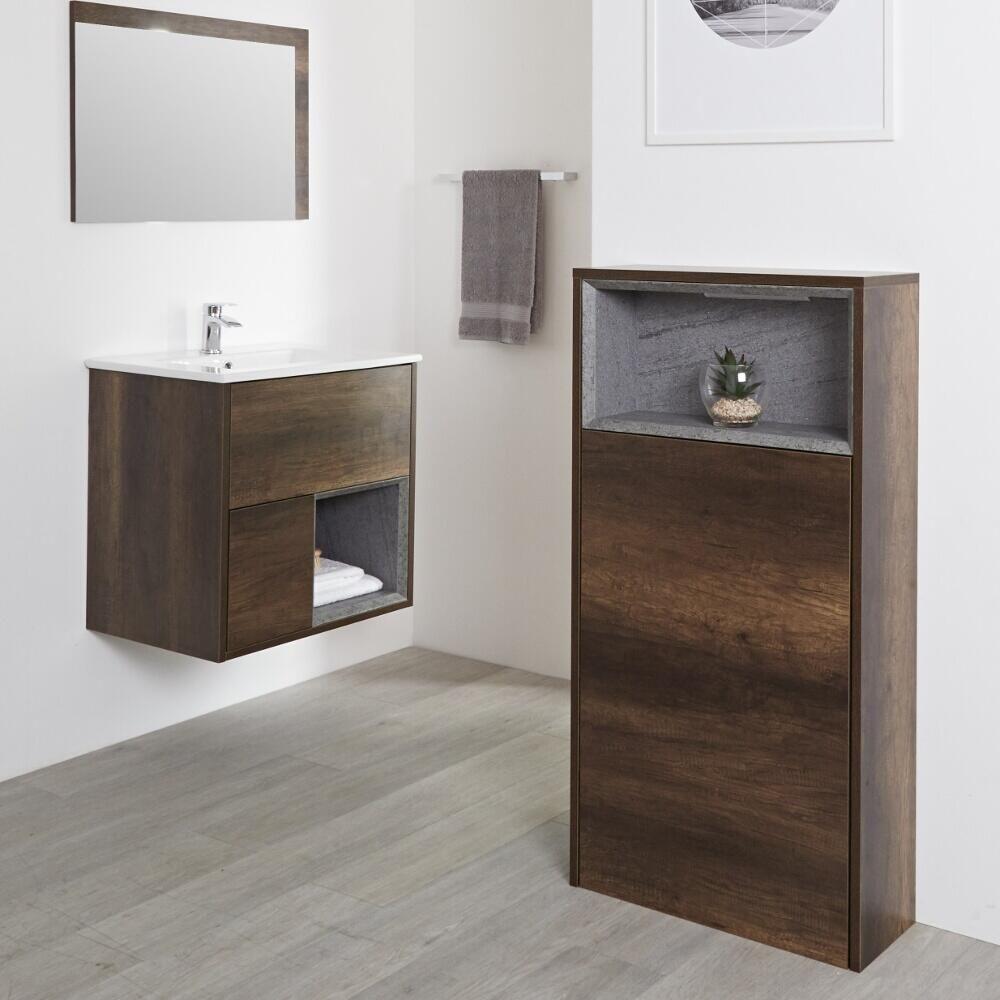 Mueble para Cuarto de Baño con Diseño Expuesto de 600 x1150mm Color Roble  Oscuro - Hoxton