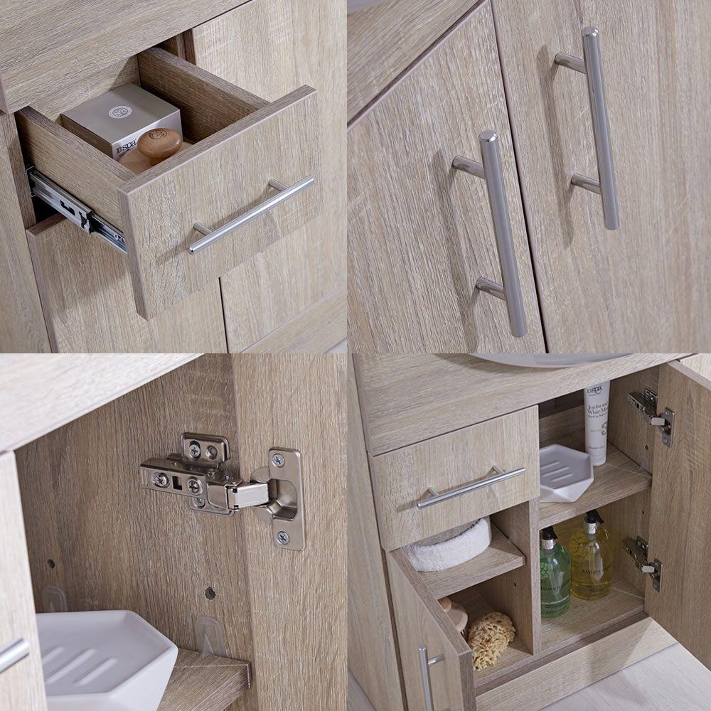 Mueble de Lavabo de 3 Puertas Efecto Roble con Inodoro Integrado ...