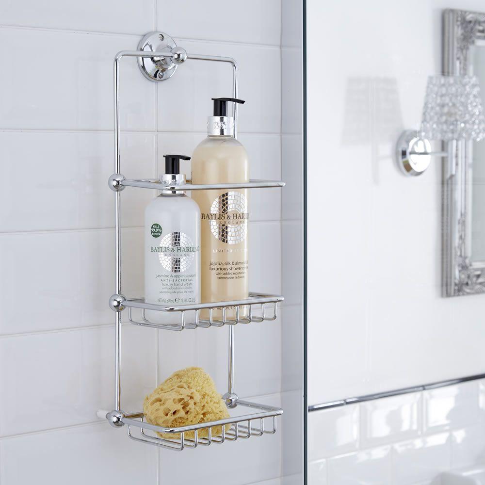 cesta porta accesorios doble para ducha y ba era con