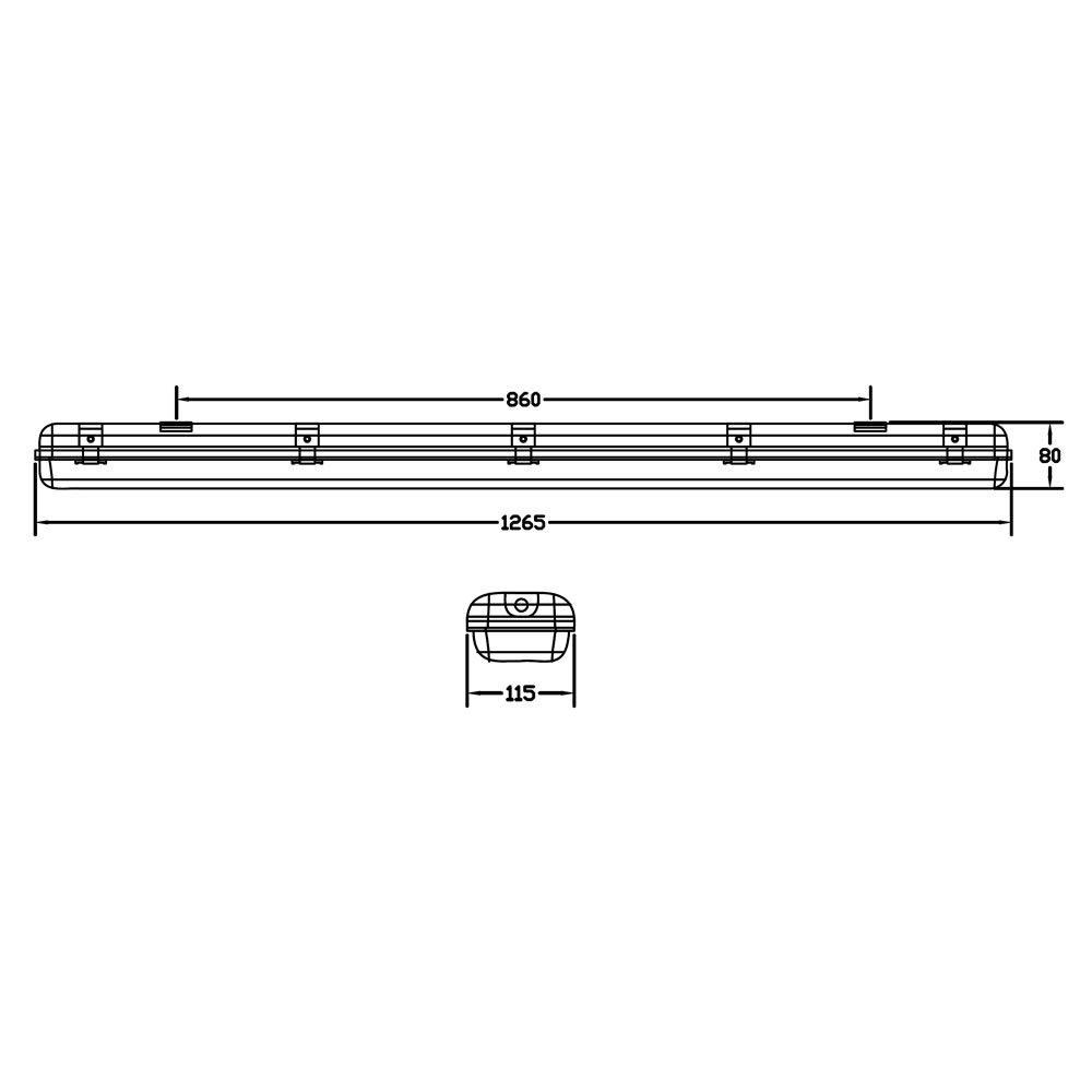 Circuito X : Biard regleta led ip65 1265 x 115 x 80mm con circuito de leds