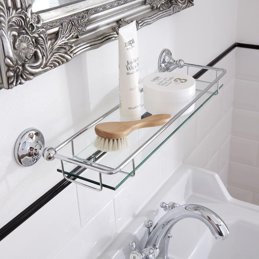 Repisa Porta Objetos en Vidrio Mural para Baño con acabado en Cromo 29dd9ce83804