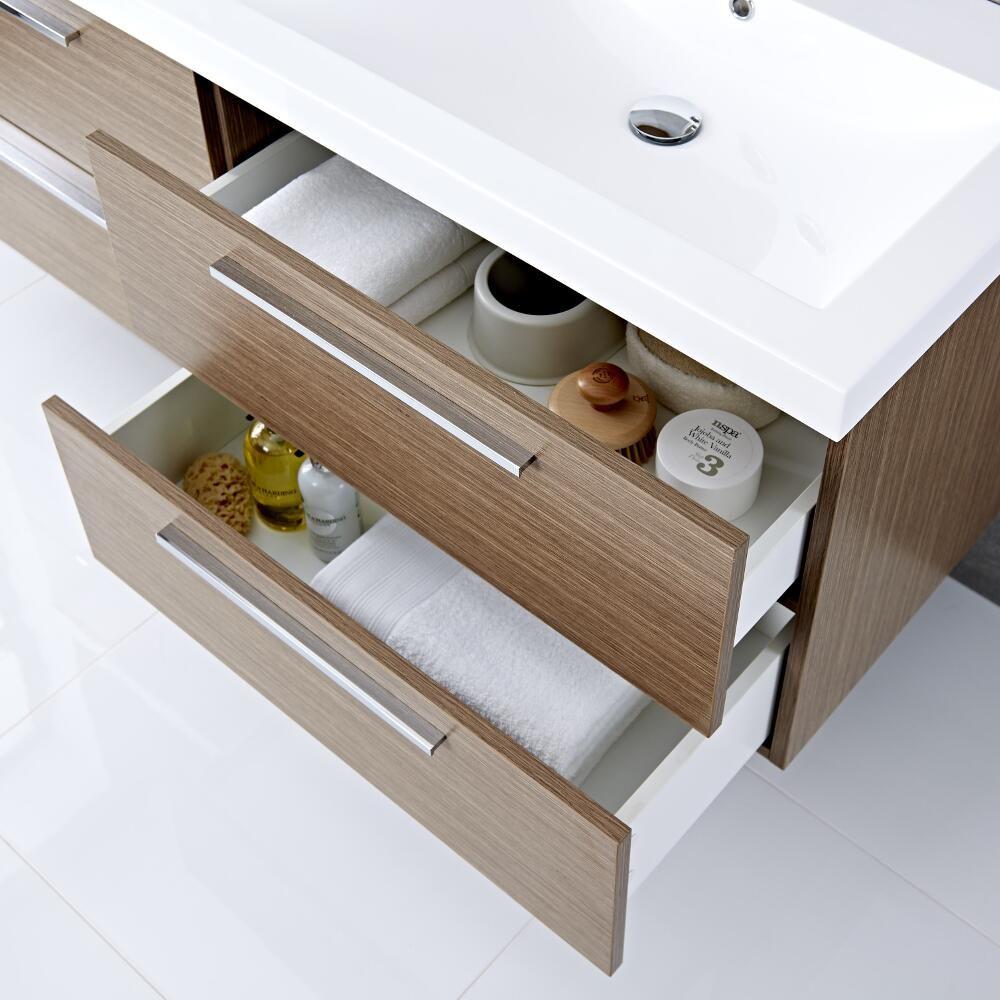 Mueble de Lavabo Suspendido Doble con Acabado Color Efecto Roble ...