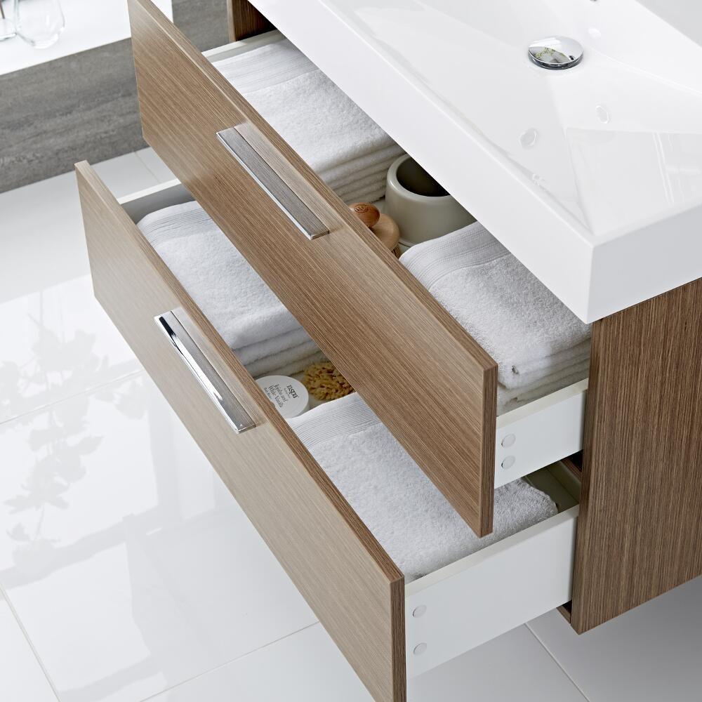 Mueble de Lavabo Suspendido con Acabado Color Efecto Roble ...
