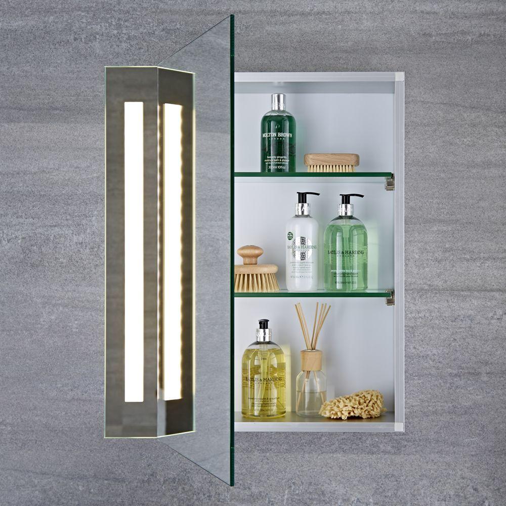 Armario con espejo led y enchufe integrado para cuarto de - Armario cuarto de bano ...