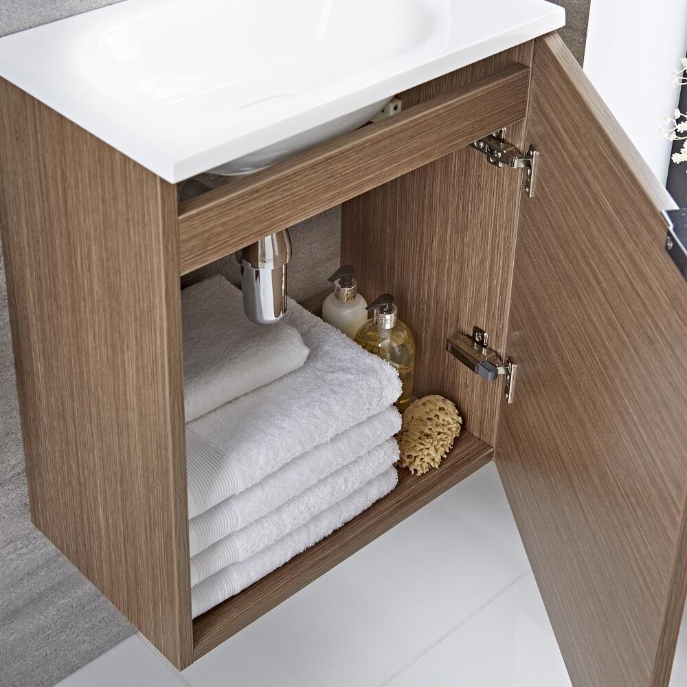 Mueble de Lavabo Suspendido Color Efecto Roble 500x300x600mm con ...