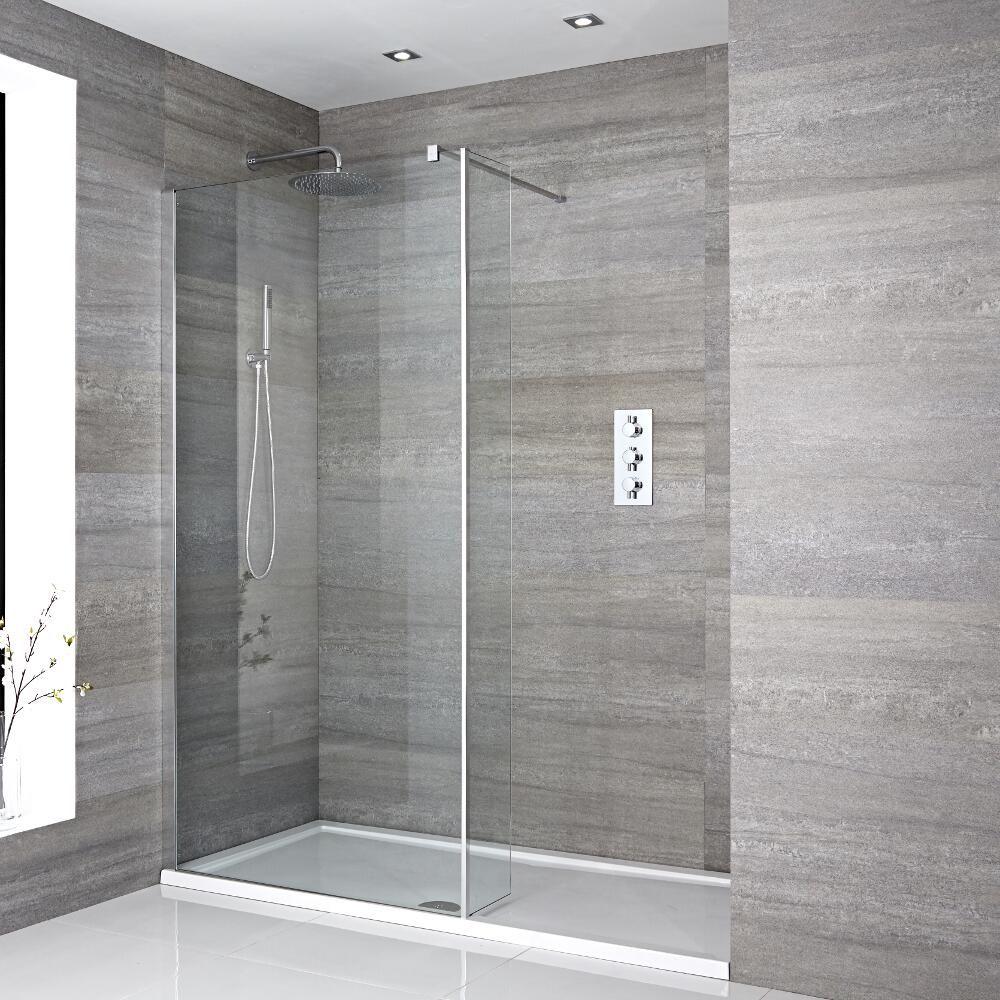 Mampara para ducha de obra de 1700x800 mm con pared de for Tipos de mamparas para platos de ducha
