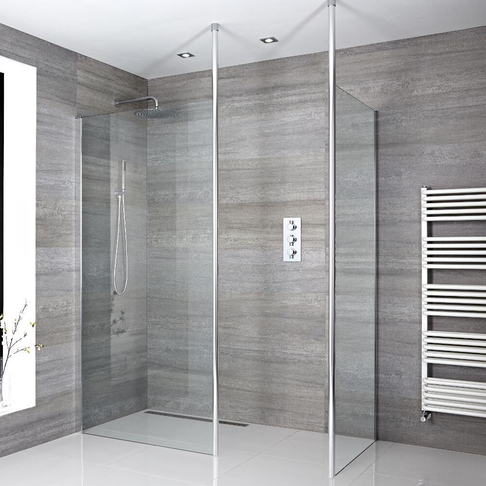Kit con mampara de ducha de 1400x900mm para ducha de obra for Duchas de obra leroy merlin