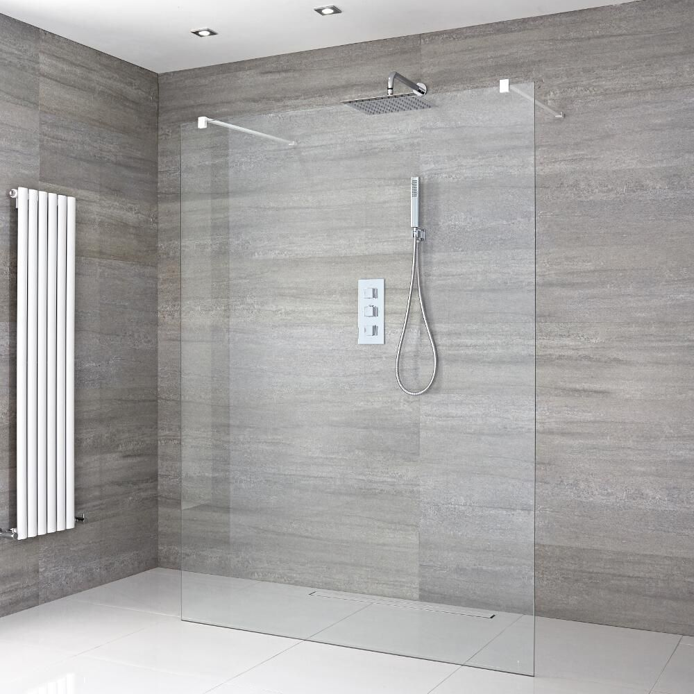 Kit de ducha de obra con mampara de ducha a ras del suelo de 1200mm con brazos de soporte - Plato de ducha de obra ...