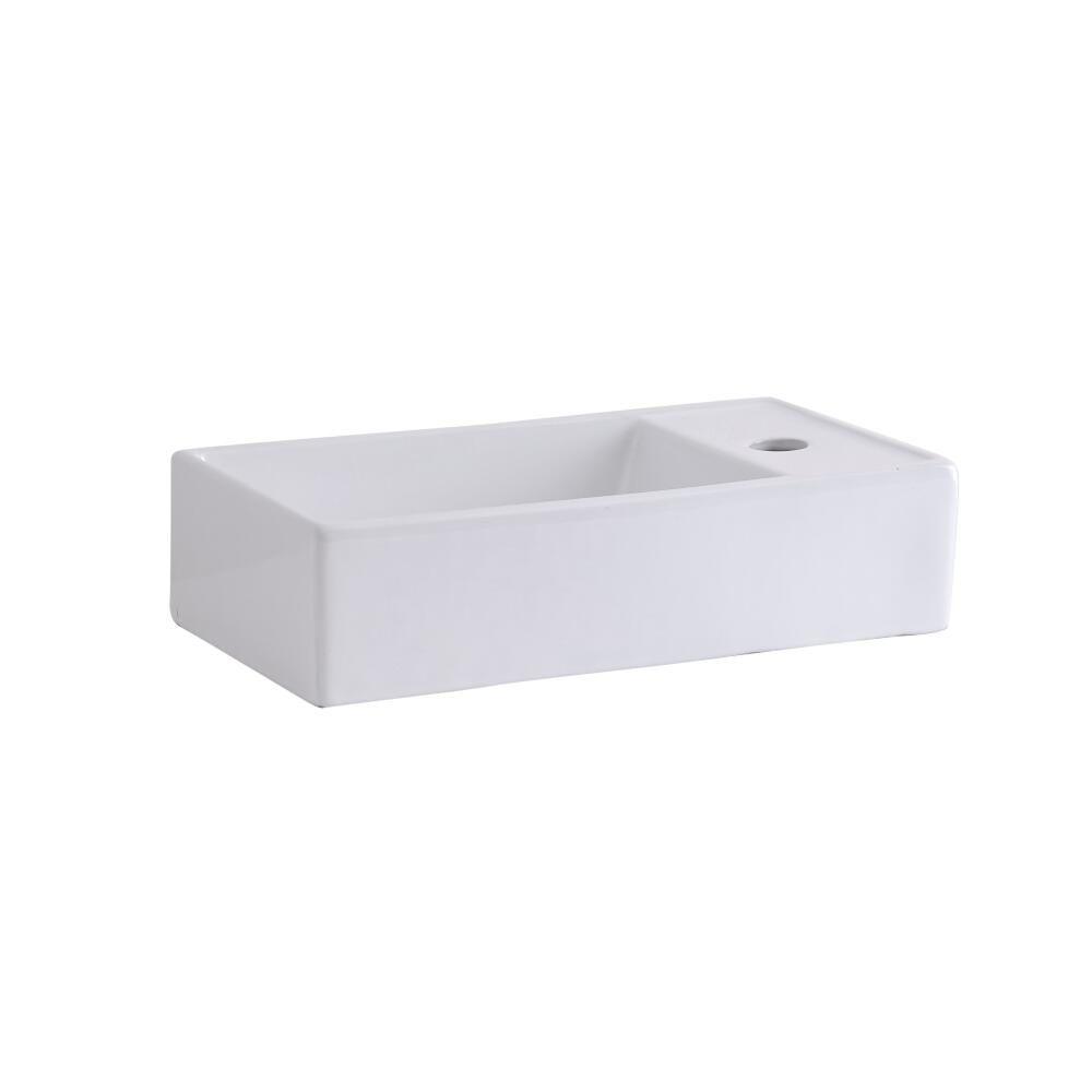 Lavabo sobre encimera o suspendido rectangular de cer mica for Lavabo sobre encimera rectangular