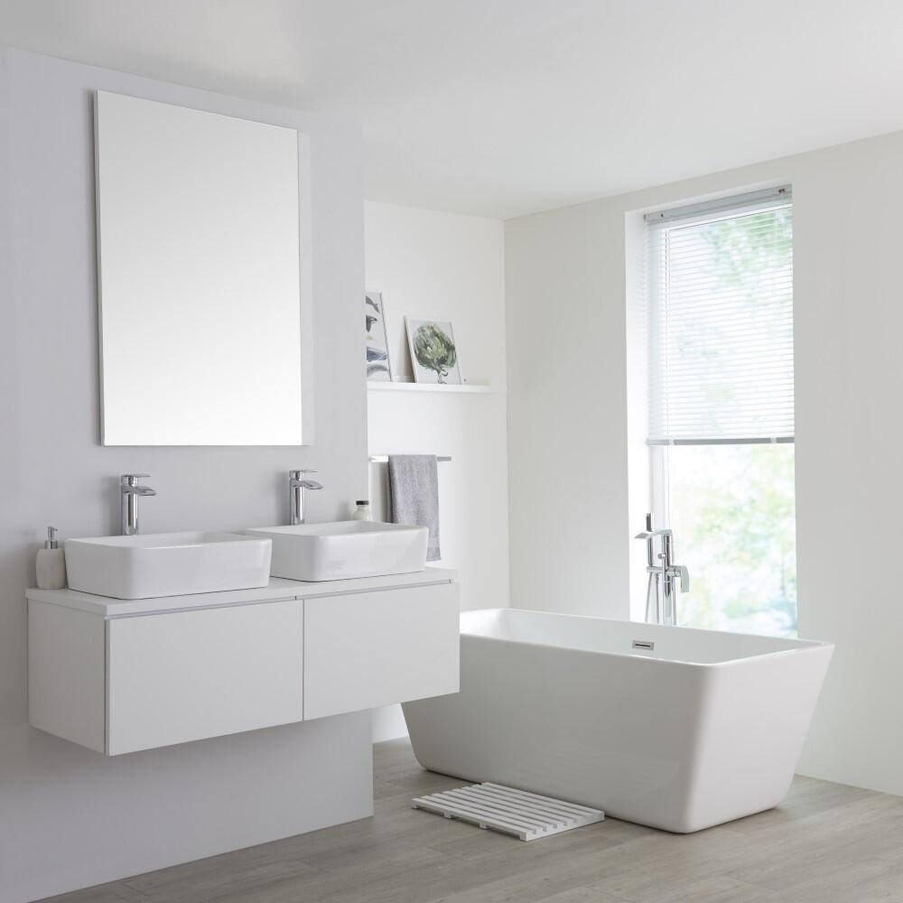 Mueble de lavabo mural moderno de 1200mm color blanco opaco con lavabo de sobre encimera - Mueble lavabo blanco ...