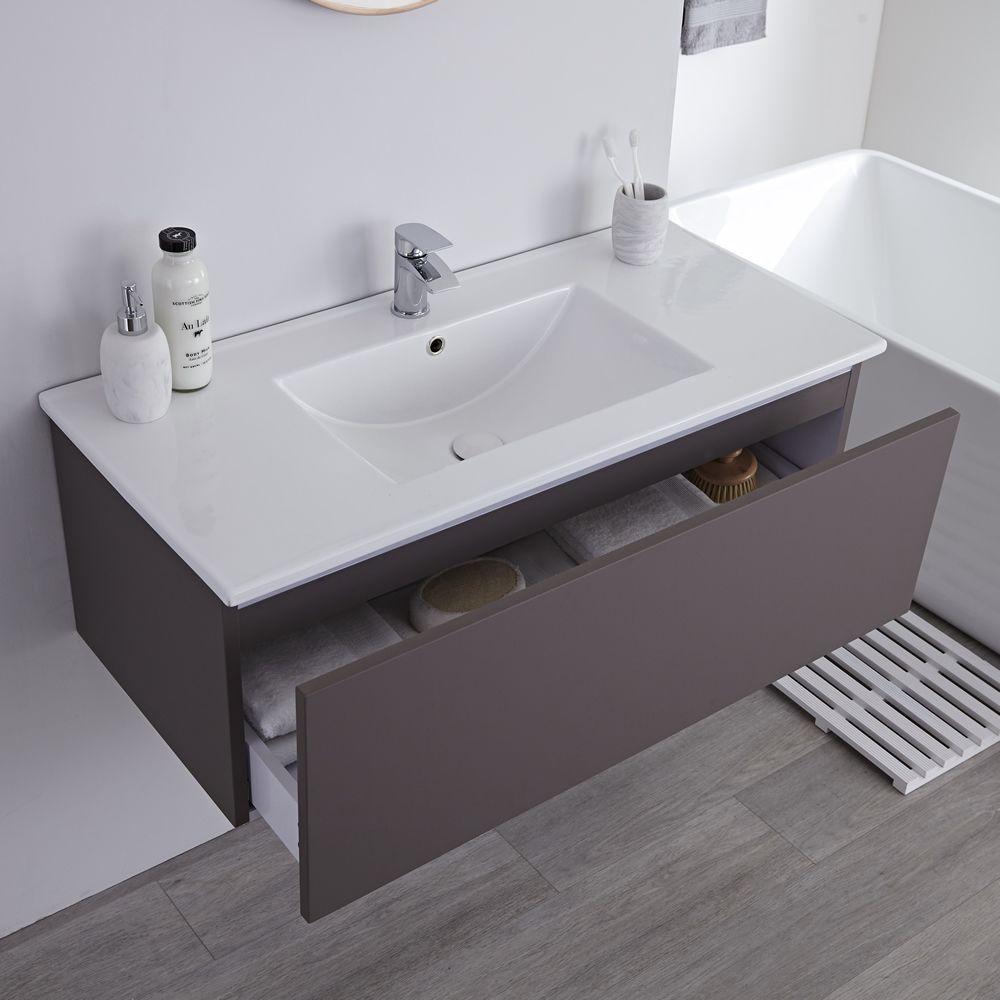 Mueble de lavabo mural moderno de 1000mm color gris opaco con lavabo integrado para ba o Mueble para lavabo