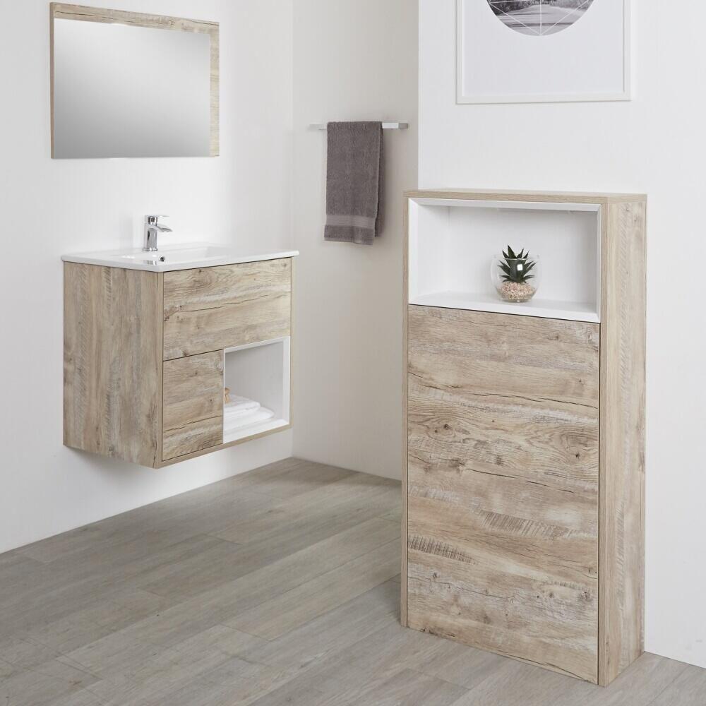 Mueble para Cuarto de Baño con Diseño Expuesto de 600 x1150mm Color Roble  Claro - Hoxton