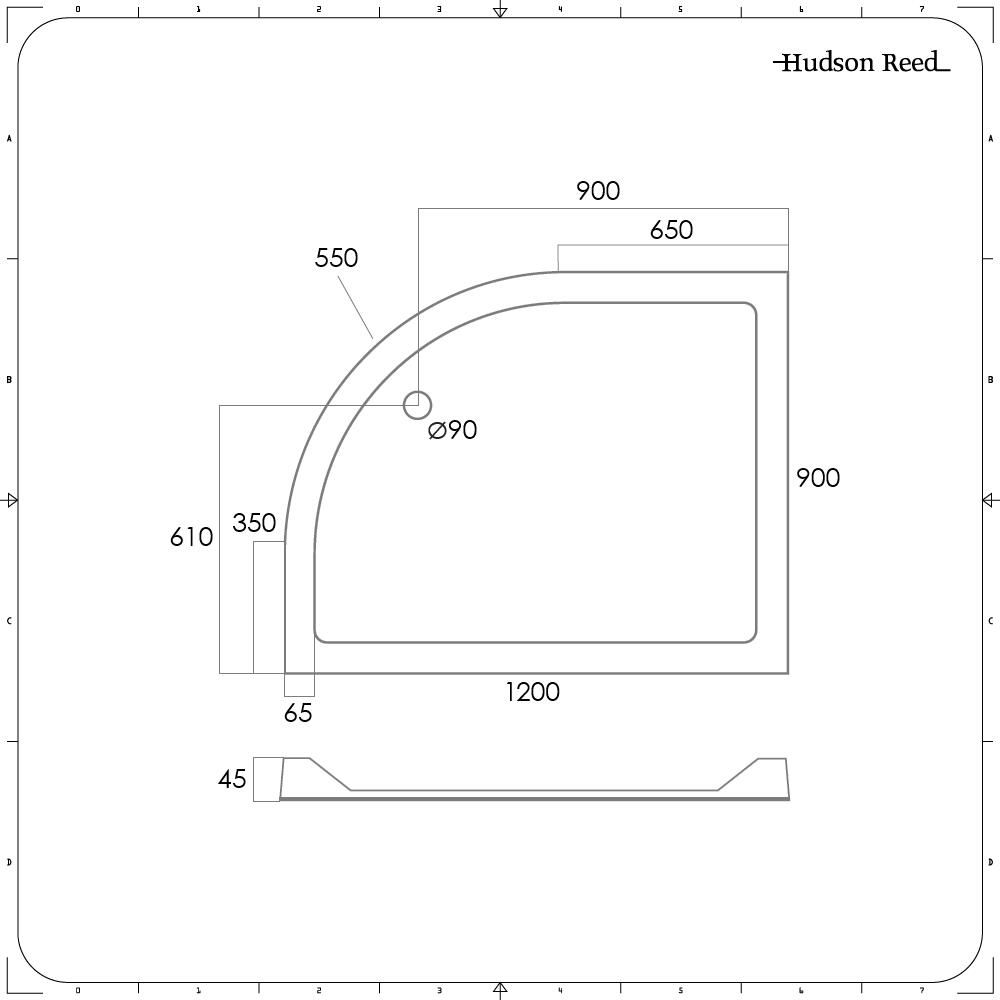 Plato de Ducha Angular de 1200x900mm Versión Derecha de Cuarto de Círculo  Duco Stone
