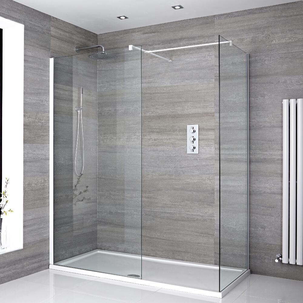 Mampara para ducha de obra de 1700x800mm con 2 hojas de vidrio fijas con plato de ducha y - Vidrios para duchas ...