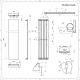 Radiador de Diseño Vertical - Panel Plano – Conexión Central – Blanco Mineral - 1800mm x 450mm - 923 Vatios - Trevi